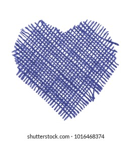Navy blue threads heart valentines love day isolated on white