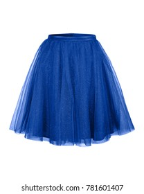Navy blue tulle ballerina skirt isolated on white