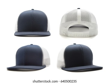 Navy blue and white cap isolated on white background. Multiple angles included.