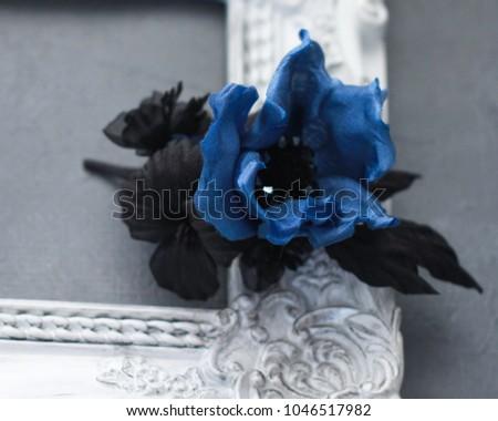 Navy Blue Woman Brooch Silk Flowers Stock Photo Edit Now