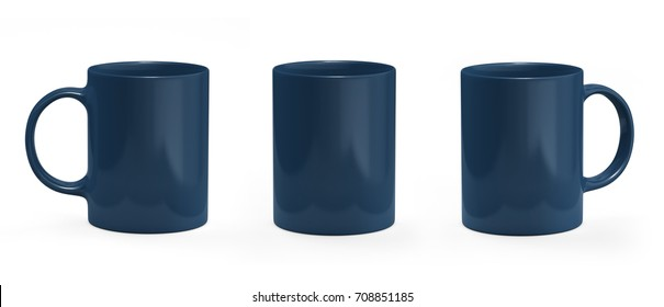 Navy coffee mug. Mug empty mock-up