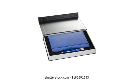 Navy Dark Blue Leather PU Agenda Diary Notebook with pen holder in black paper gift box isolated on white background. Stationery or appointment book is small book containing a main diary section.