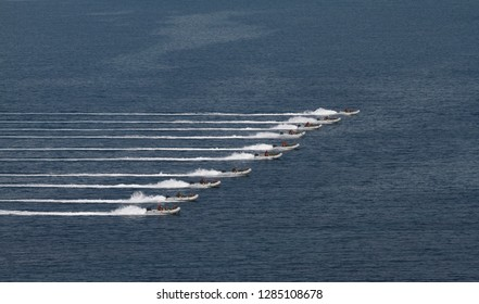 Navy fast dingy speedboat in fast speed action during military assault exercise with sea background in straight formation and cloumn. Turkish naval forces, Turkey.