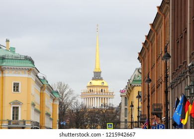 Navy Headquarter up the street in Saint Petersburg, Russia