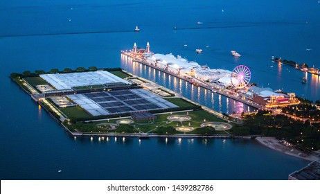 Navy Pier in Chicago - aerial view by night - CHICAGO, ILLINOIS - JUNE 12, 2019