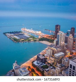 Navy Pier, Chicago city from top view