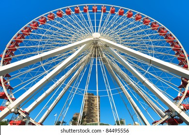 Navy Pier Ferris Wheel located next to Lake Michigan in downtown Chicago.