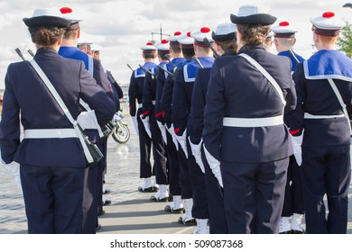 Navy sailors in formation during celebrations of the Armed Forces Day