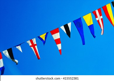 Navy ship signal flags.