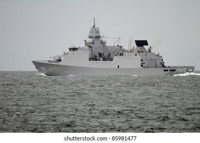 Navy vessel sailing on the high seas