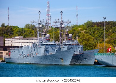 Navy warship moored at the wharf in the port of Gdynia, Poland.