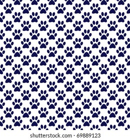 navy and white paw print paper