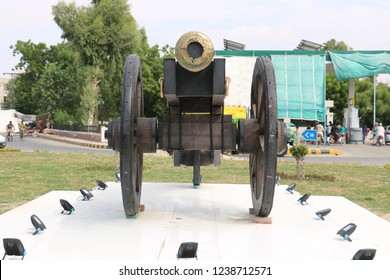 Nawab of Bahawalpur cannon on wheels for war, Castle cannon for defend. Ancient Gun Barrel of the castle. Antique cannons on gun carriage. Gun Barrel.Old cannon large. Ancient black cannon. Black old