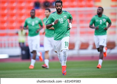 Nawaf Al-Abed no.18 of Saudi Arabia in action during 2018 FIFA World Cup Qualifier Group B between Thailand and Saudi Arabia at the Rajamangala Stadium on March 23, 2017 in Bangkok,Thailand,