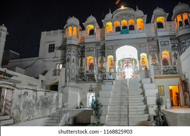 NAWALGARH, RAJASTHAN, INDIA - OCT 11,2011 : in the warm Indian night the sumptuous Moghul palaces offer the tourist a spectacular vision, in Nawalgarh on October 11th 2011