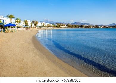 Naxos Agios Georgios city beach or Saint George beach, Naxos island in Greece