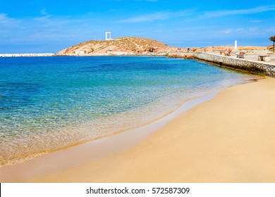 Naxos city beach on Naxos island in Greece