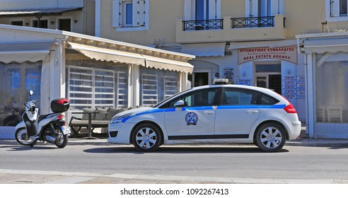 NAXOS, GREECE - MARCH 14: Police car in the street of Naxos, Greece on March 14, 2018.