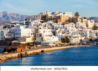 Naxos island aerial panoramic view. Naxos is the largest of the Cyclades island group in the Aegean, Greece