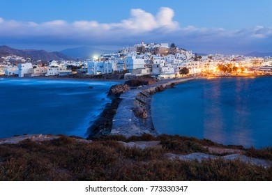 The Naxos island aerial panoramic view on sunset. Naxos is the largest of the Cyclades island group in the Aegean, Greece