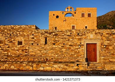"""NAXOS ISLAND, CYCLADES, GREECE - May 6, 2012. The Bazeos Tower (previously """"Monastery of the Holy Cross"""") in Sangri village."""