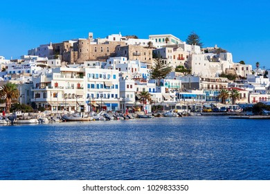 NAXOS ISLAND, GREECE - OCTOBER 23, 2016: Naxos island aerial panoramic view. Naxos is the largest of the Cyclades island group in the Aegean, Greece