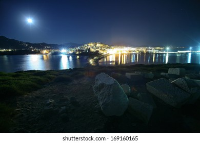 Naxos island under the moon light - 2012 - The city and the harbor in Naxos island - Greece.