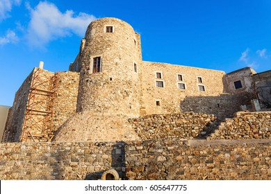 Naxos Kastro old town tower walls, Naxos island in Greece
