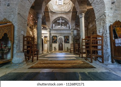 Naxos/Greece - July 1st 2017: View of the interior of Fotodotis Monastery Tower at Naxos Island