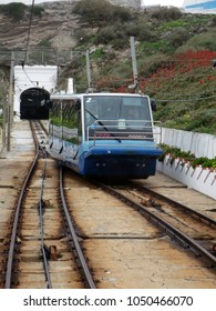 Nazare, Portugal- 01.15.2018: Funicular railway in Nazare, Central Portugal. Ascensor of Nazare is a funicular, leading up to scenic overlook of Nazare Sitio, the upper part of city above giant cliffs