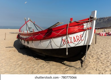 Nazare, Portugal, August 12, 2017: Historic examples of the colorful fishing boats used by the local fishermen not so long ago.