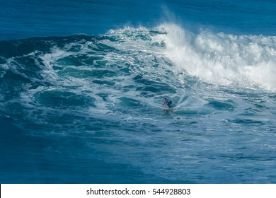 NAZARE, PORTUGAL - DECEMBER 20, 2016: Kai Lenny (HAW) during the Nazare Challenge 2016 - Big Wave Tour #3 at Praia do Norte - Nazare, Portugal.