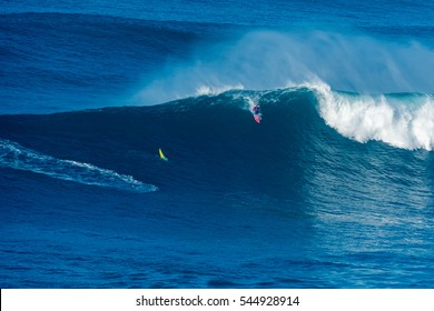 NAZARE, PORTUGAL - DECEMBER 20, 2016: Billy Kemper (HAW) during the Nazare Challenge 2016 - Big Wave Tour #3 at Praia do Norte - Nazare, Portugal.