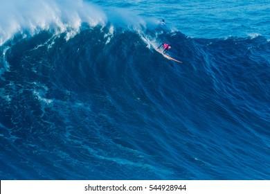 NAZARE, PORTUGAL - DECEMBER 20, 2016: Nic Lamb (USA) during the Nazare Challenge 2016 - Big Wave Tour #3 at Praia do Norte - Nazare, Portugal.