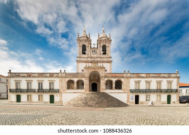 NAZARE, PORTUGAL - FEBRUARY 25, 2017: the 17th-century, baroque Igreja de Nossa Senhora da Nazare,in Portugal, decorated with attractive Dutch azulejos