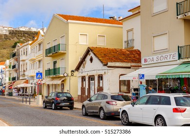 NAZARE, PORTUGAL - OCT 15, 2016: Architecture of the  Promenade of Nazare, Portugal. It is one of the most popular seaside resorts in the Silver Coast (Costa de Prata)