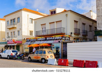 NAZARE, PORTUGAL - OCT 15, 2016: Coast of Nazare, Portugal. It is one of the most popular seaside resorts in the Silver Coast (Costa de Prata)