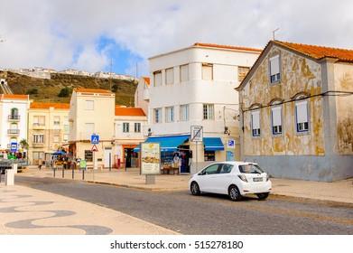 NAZARE, PORTUGAL - OCT 15, 2016: Architecture of the  Promenade of Nazare, Portugal. It is one of the most popular seaside resorts in the Silver Coast (Costa de Prata)
