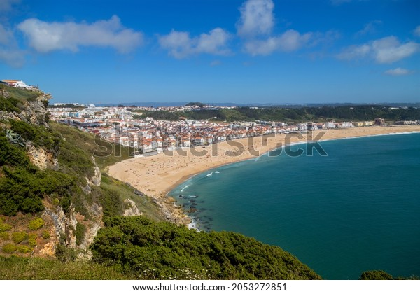 Nazare town and beach from Sitio, Portugal