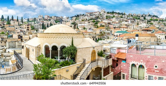 Nazareth city panoramic view. Mary of Nazareth Center. Israel