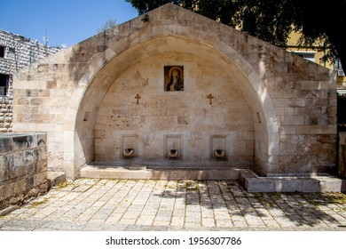 Nazareth, Israel - april, 08, 2021: Near the church of the holy Archangel Gabriel there is a spring called Marys Well, the waters of which are said to have healing powers