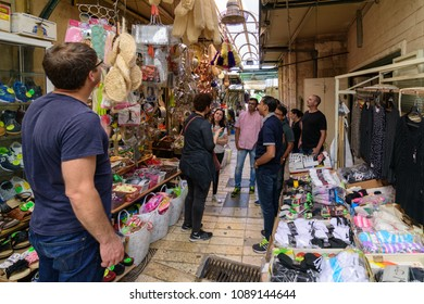 NAZARETH, ISRAEL - APRIL 30, 2016: The old, traditional Arab market in Nazareth in the North of Israel