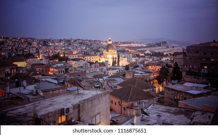 Nazareth, Israel - December 23 2017: The night view of skyline .