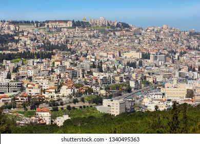 NAZARETH, ISRAEL - March 09, 2019: panoramic view of modern Nazareth, a city in the Galilee, north of Israel, here passed the childhood and youth of Jesus Christ