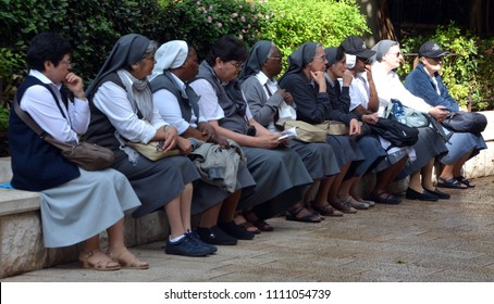 NAZARETH ISRAEL NOV 04 2016: Nuns in Nazareth, Every Friday procession goes through the streets of Nazareth, from the Church of St. Joseph to the Basilica of the Annunciation, Nazareth