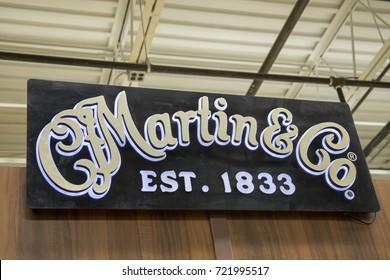 Nazareth, PA - September 22, 2017 :  C. F. Martin Guitar factory sign with logo.