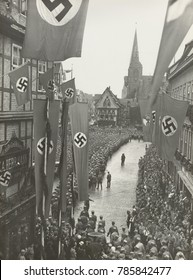 Nazi Celebration of the Thousandth Anniversary of the German Reich, 1936. The 1000th anniversary of the death of Heinrich I was celebrated in the market square in Quedlinburg, Germany, July 2, 1936