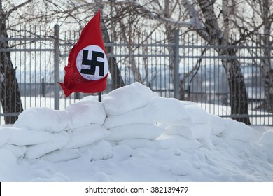 Nazi flag in the snow