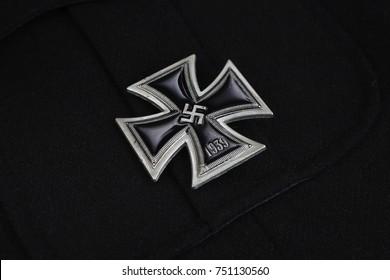 nazi german award Iron Cross on black SS uniform background