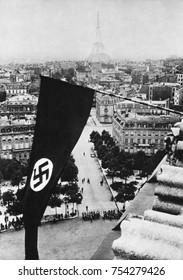 Nazi Swastika flag on the Arc de Triomphe after German occupation of Paris, June 1940, World War 2